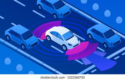 Driverless car on road banner. Isometric illustration of driverless car on road vector banner for web design