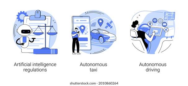Driverless transport legislation abstract concept vector illustration set. Artificial intelligence regulations, autonomous taxi driving, AI development, future transport system abstract metaphor.