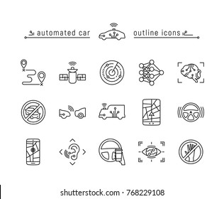 Driverless vehicle vector icon set in outline style.