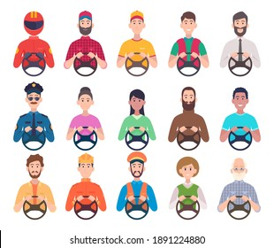 Drivers avatars. Service professional sitting in automobile and holding car steering wheel male and female drivers exact vector illustrations