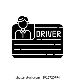 Drivers license black glyph icon. Official document permitting specific individual to operate one or more types of vehicles. Silhouette symbol on white space. Vector isolated illustration