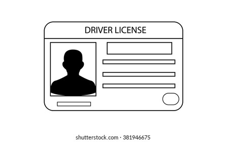 Driver's license identification card line art icon. ID Driver Card.