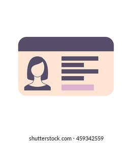 Driver's license isolated on white background. Driver's license vector flat icon. Woman driving license