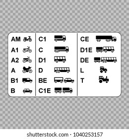 Driver's licenses symbols subdivided into different categories.