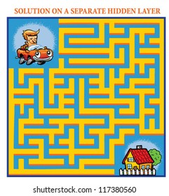 Driver's Maze Game (help the lost driver find his home - Maze puzzle with solution)