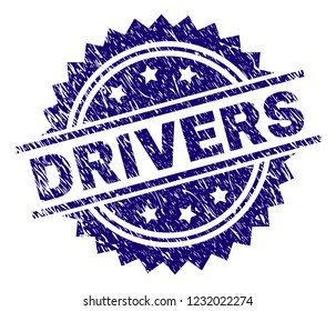 DRIVERS stamp seal watermark with distress style. Blue vector rubber print of DRIVERS caption with retro texture.