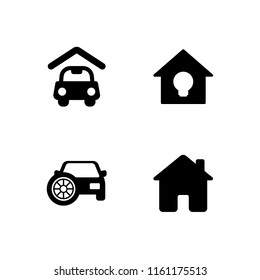 driveway icon. 4 driveway set with house, carport and garage vector icons for web and mobile app