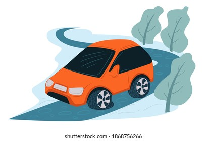 Driving automobile in winter, curvy icy road and trees bending of wind. Wintertime landscape with path in rural remote area. Frozen bushes and highway. Dangerous trip condition. Vector in flat style