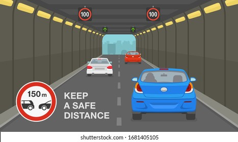 Driving a car. City highway tunnel road. Keep a safe distance road sign. Flat vector illustration.