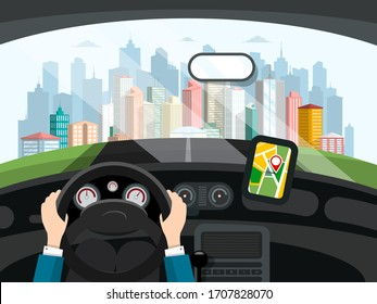 Driving Car Concept. Hands Holding Steering Wheel, Navigation App on Dashboard and Modern City Behind Window. Vehicle Interior Vector Flat Design Illustration.
