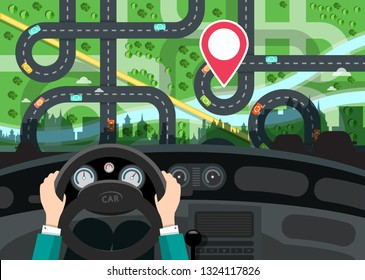 Driving Car Concept with Hands on Steering Wheel and City Map with Destination Red Pin Behind the Window - GPS Navigation Vector Design