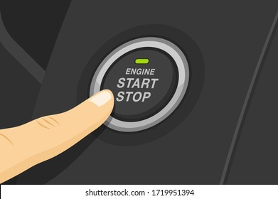 Driving a car. Finger pressing engine start and stop button. Flat vector illustration.