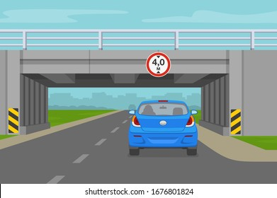 Driving a car. Car going through the tunnel under the bridge. Low bridge sign. Flat vector illustration.