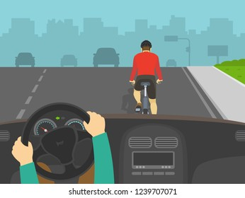 Driving a car. Hands holding a steering wheel. Driver overtaking a cyclist on highway. Back view of cycling bike rider. Flat vector illustration.