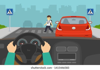 Driving a car. Hidden pedestrian boy in a crosswalk without a signal. Road safety rules. Never pass vehicles stopped at a crosswalk.