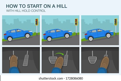 Driving a car. How to start on a hill infographic. Suv car stopped at traffic light on a hill. Flat vector illustration.