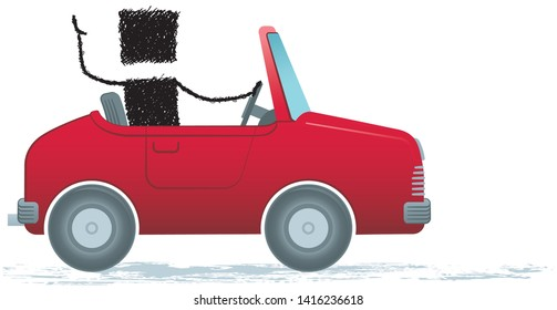 Driving a car, isolated on white background. Illustration of a stick figure driving a car.