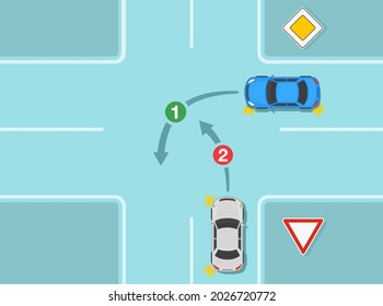 Driving a car. Main or priority road and give way sign rule. Cars on cross intersection. Turning priority on crossroad infographic. Flat vector illustration template.