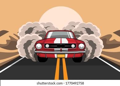 Driving car through the desert road.