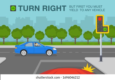 Driving a car. Traffic light with green arrow signal. Car is about to turn right after giving way to other vehicle. Right turn permitted sign. Flat vector illustration.