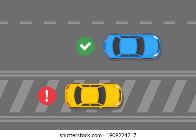Driving a car. Traffic or road rules. Painted islands road markings. Flat vector illustration template.