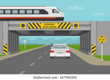 Driving a car. Train overpass with low bridge sign. Overheight with amber flashers. Flat vector illustration.