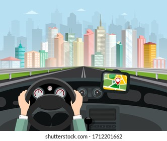 Driving Car Vector Illustration. Hands on Steering Wheel, GPS Navigation with Red Pin and Big City Skyline with Skyscrapers on Background.