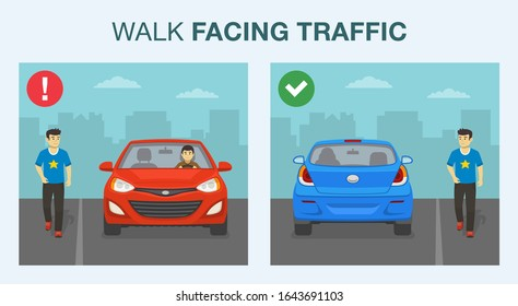 Driving a car. Walking safely on the road. Pedestrian safety rule. Walk or run facing upcoming traffic. Flat vector illustration.