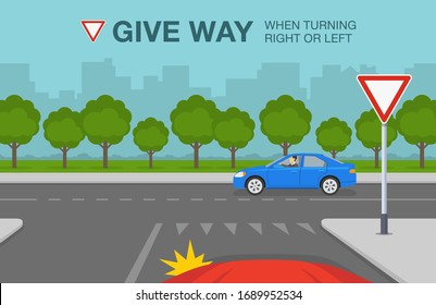 Driving a car. Yield or give way sign rule. Car is about to turn left on the street. Flat vector illustration.