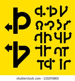 Driving direction arrows. Vector.