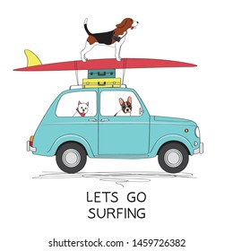 Driving dogs on retro car with surfboard and suitcases, vector illustration