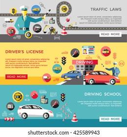 Driving horizontal banners set with traffic laws license school policeman road cars trucks wheel isolated vector illustration