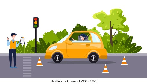 A driving instructor teach a happy young woman to drive an yellow car. Driving school concept, driver's license, traffic rules and test. Vector flat illustration. Natural landscape on the background.