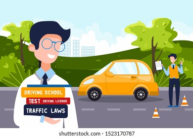 A driving instructor teaches a happy man who holds driving textbooks. Driving school concept, driver's license, traffic rules and tests. Vector flat illustration. Natural landscape in the background