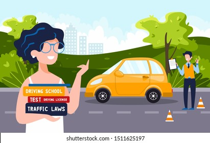 A driving instructor teaches a happy woman who holds driving textbooks. Driving school concept, driver's license, traffic rules and tests. Vector flat illustration. Natural landscape in the background