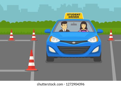 Driving lesson. Instructor sitting in a car next to a female student driver. Flat vector illustration.