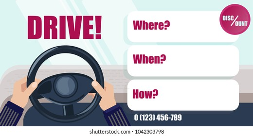 Driving lessons. Hands on the steering wheel of the car. Banner or flyer. Discount or offer. Driving school. Courses practice driving around the city.