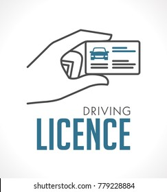 Driving licence logo - card in hand logo