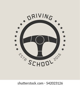 Driving license school vector logo,  emblem. Steering wheel graphic design element