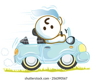 Driving mini car on tour go to any where adventure tour or go to meeting with cute car and said Hi, He is pantomime, Cartoon vector character design cute and funny background white color