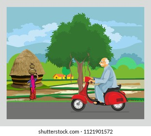 driving old man with suitcase on road