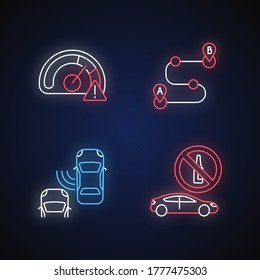 Driving risks neon light icons set. Traffic dangers signs with outer glowing effect. Speed limit, blind spot, route planning, and drunk driving. Vector isolated RGB color illustrations