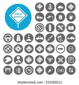 Driving Safety icons set. Illustration EPS10