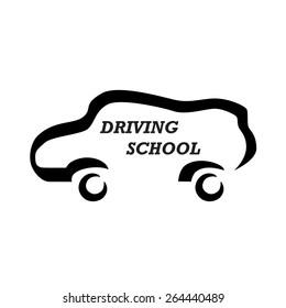 Driving school / auto service logo: car icon vector illustration