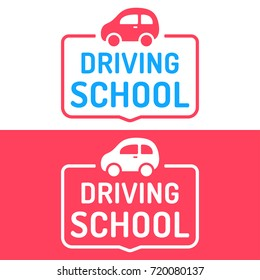 Driving school. Badge, icon, stamp, logo. Vector illustrations on white and red background. Business concept.