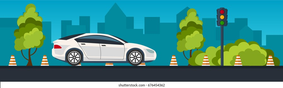 Driving School Banner. Auto Education. The rules of the road. Vector illustration