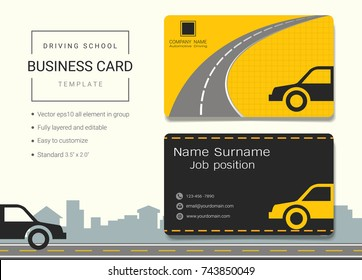 Driving school business name card design template, Simple style also modern and elegant with car drive and road background, It's fully layered and editable, Easy to customize it to fit your needs.
