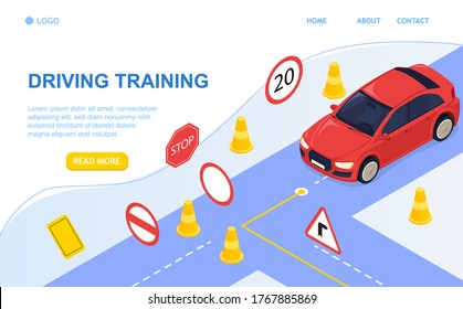Driving school concept and training. Driving by the rules. Study of road signs and car. Perfect for landing page, banner, header or mobile application. All objects are grouped. 3D Isometric Vector