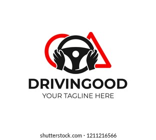Driving school, hands on the wheel with road signs, logo design. Training, vehicle, transport and transportation, vector design and illustration