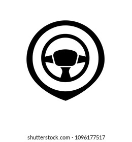 driving school here. driving school icon and map pointer. steering wheel symbol